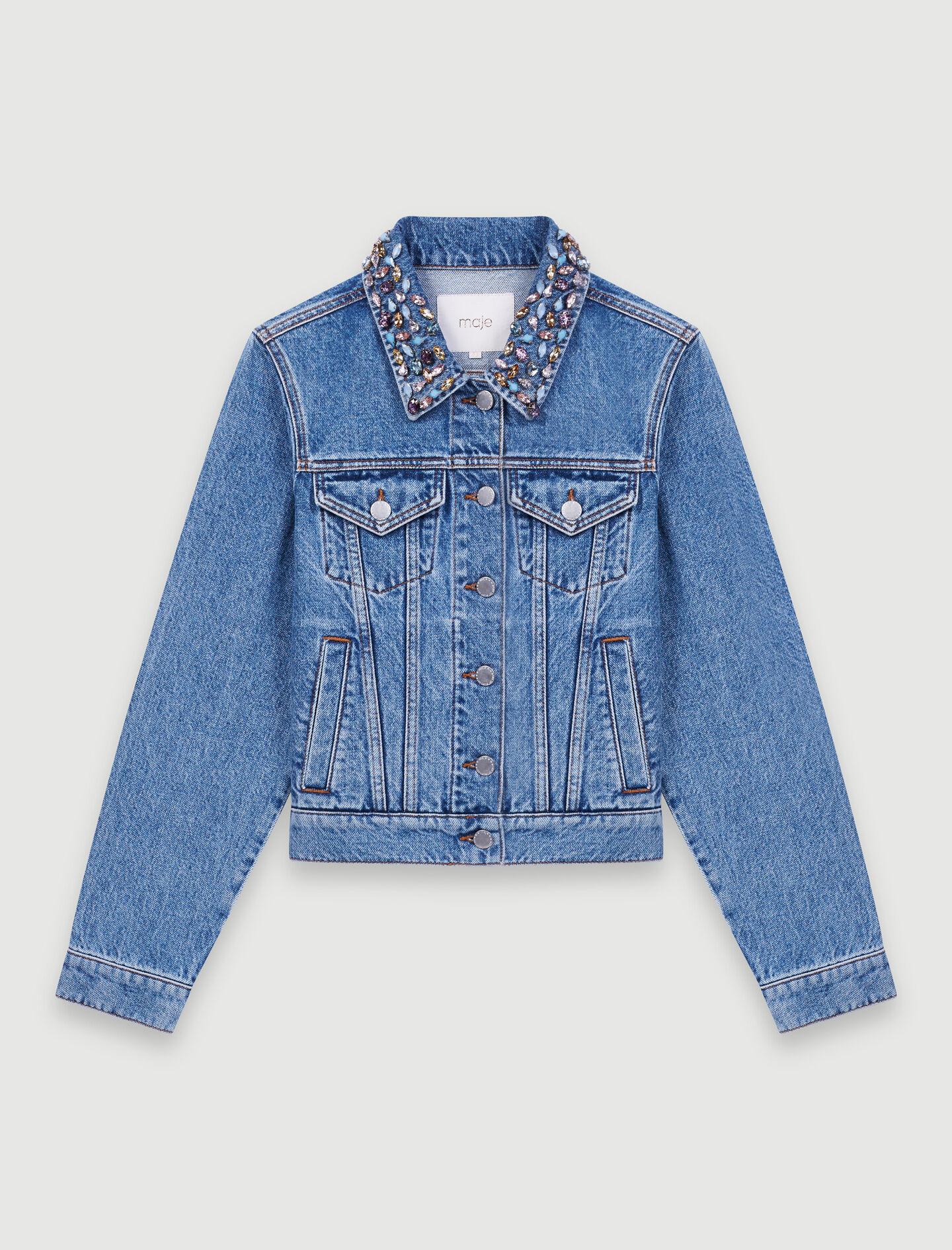 220BIANCA Blouson en jean avec col à pierres