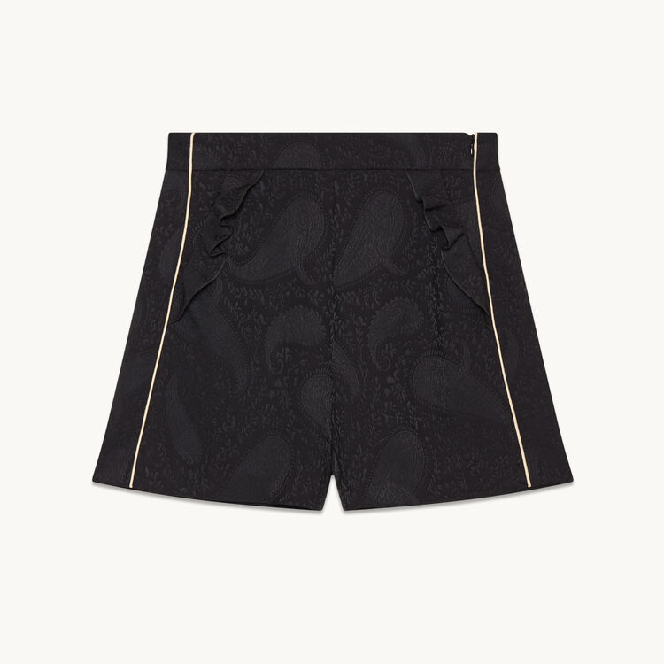 Short avec imprimé brocart : Jupes & Shorts couleur BLACK