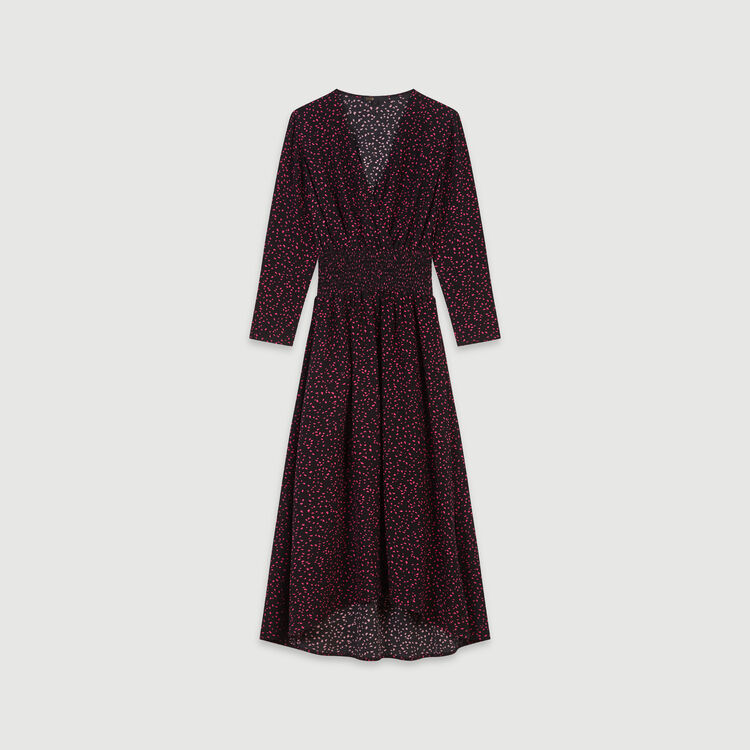 Robe smockée en crêpe imprimé : Robes couleur Noir