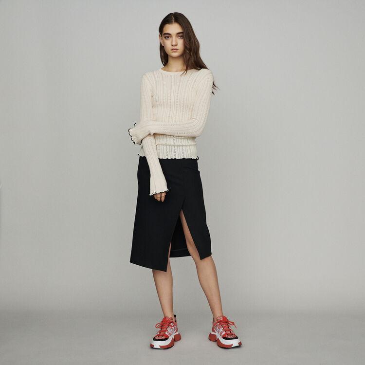 Pull en maille pointelle : Pulls & Cardigans couleur Blanc Casse