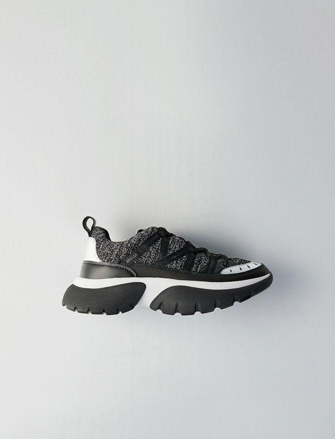 Sneakers W20 urbaines en cuir et lurex -  - MAJE