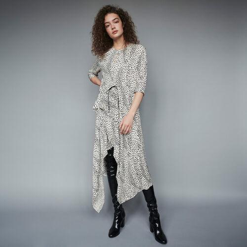 Robe asymétrique en jacquard imprimé : Robes couleur Blanc
