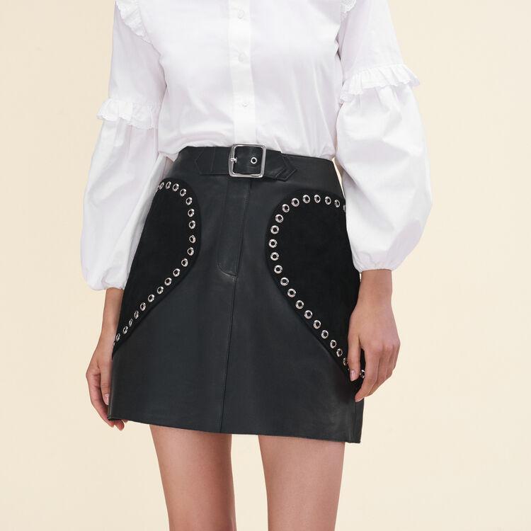 Jupe trapèze en cuir - Jupes & Shorts - MAJE