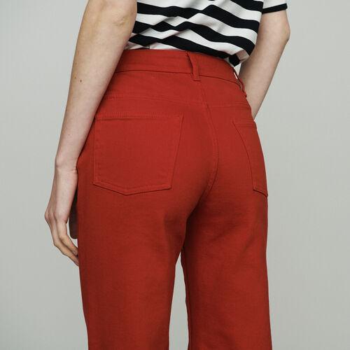 Jean taille haute : Jeans couleur Rouge