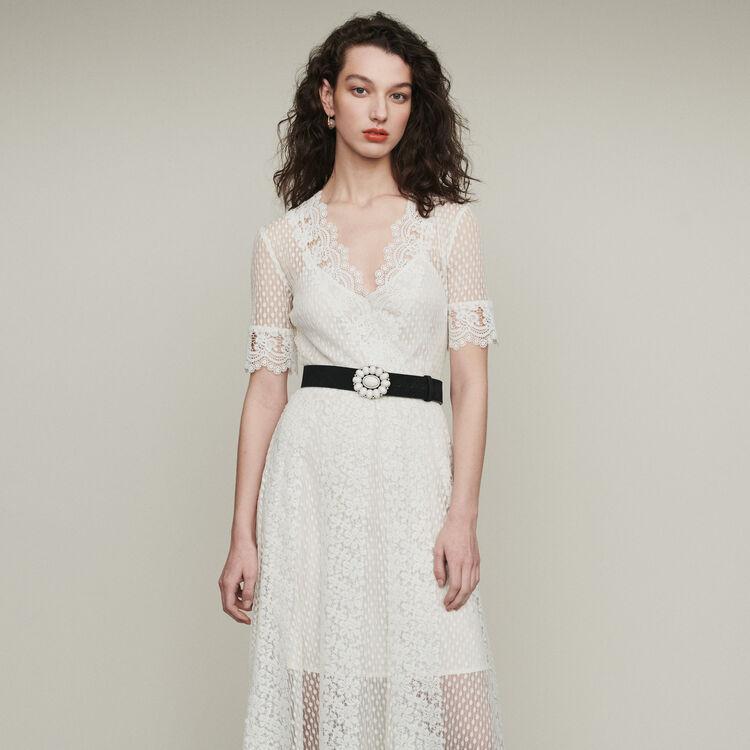 Robe longue en plumetis et dentelle : Robes couleur BLANC