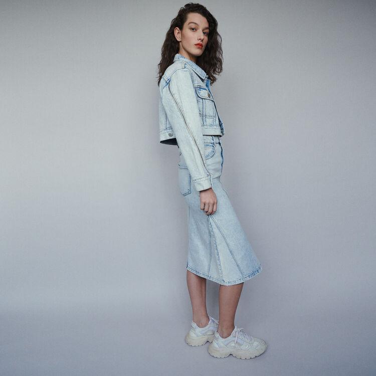 Jupe longue en jean délavé : Jupes & Shorts couleur Denim