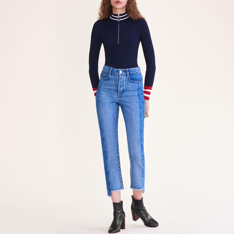 Pull en maille fine zippé : Pulls & Cardigans couleur MARINE