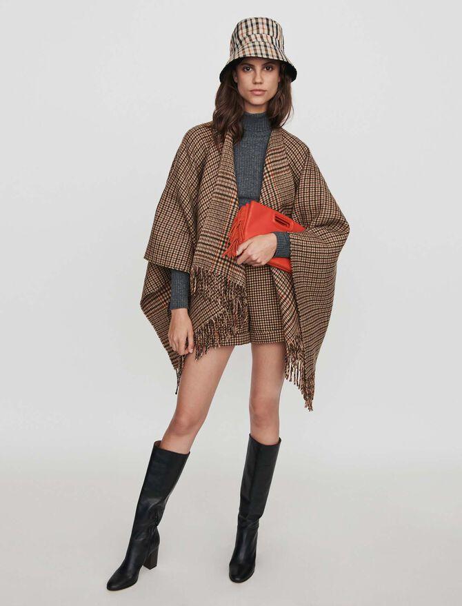 Short à carreaux avec plis et revers - Jupes & Shorts - MAJE