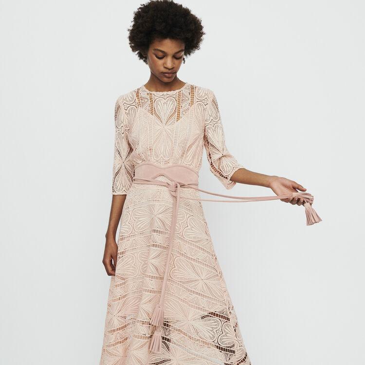 Robe longue asymétrique en guipure : Robes couleur Rose