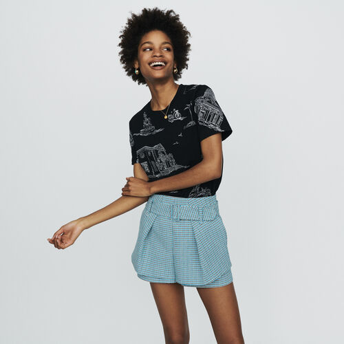 Short en natté façon tweed : Jupes & Shorts couleur Bleu