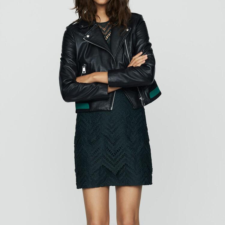 Blouson en cuir avec détail côtelé : Blousons couleur BLACK