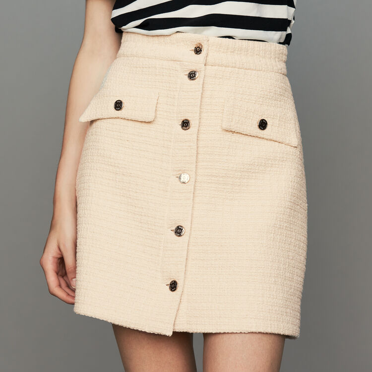 Jupe trapèze en tweed : Jupes & Shorts couleur ECRU