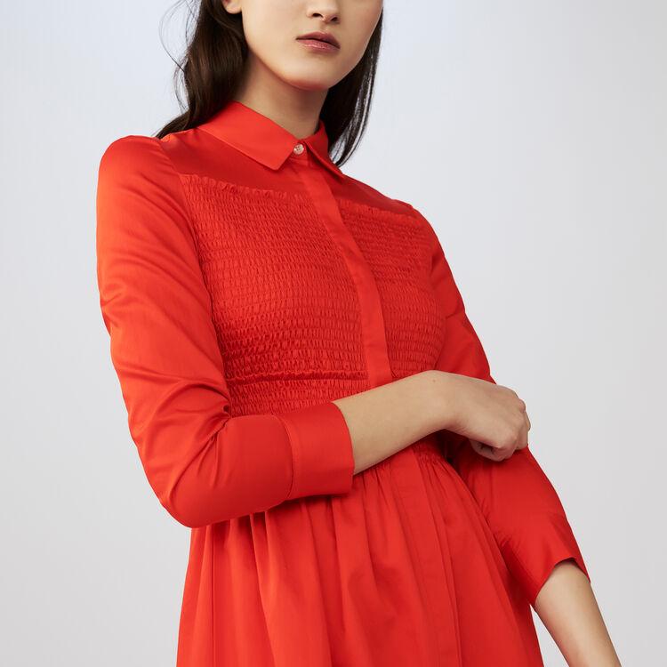 Robe-chemise avec smocks : Robes couleur Rouge