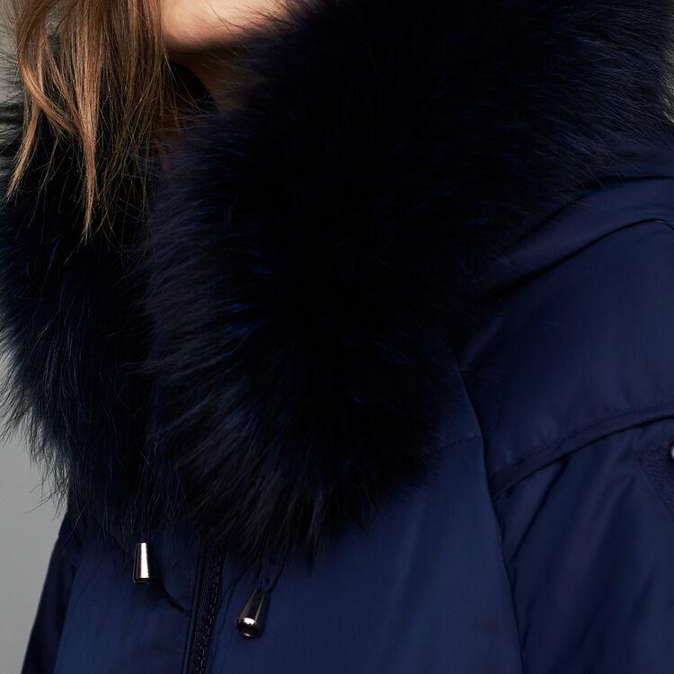 Doudoune longue avec fourrure : Manteaux couleur Marine