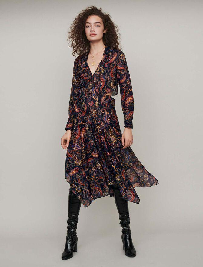 Robe-foulard en coton imprimé - cadeaux_tout_voir - MAJE