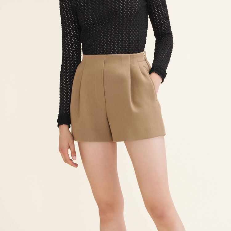 Short en coton mélangé : Jupes & Shorts couleur Camel
