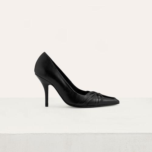 Escarpins drapés en cuir : Escarpins couleur Black
