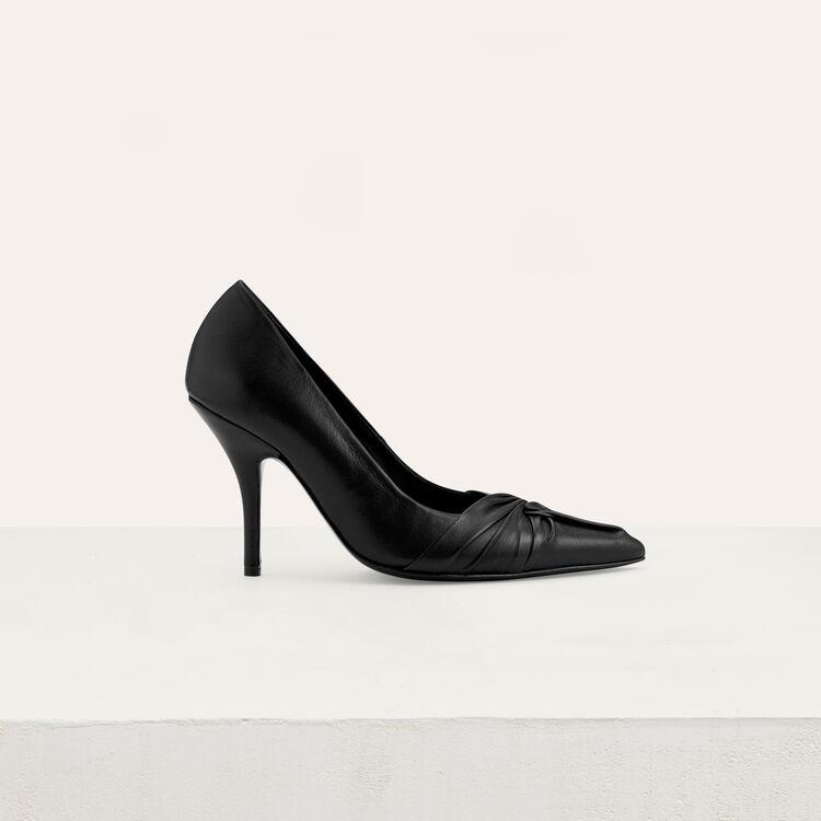 Escarpins drapés en cuir : Nouvelle Collection couleur Black