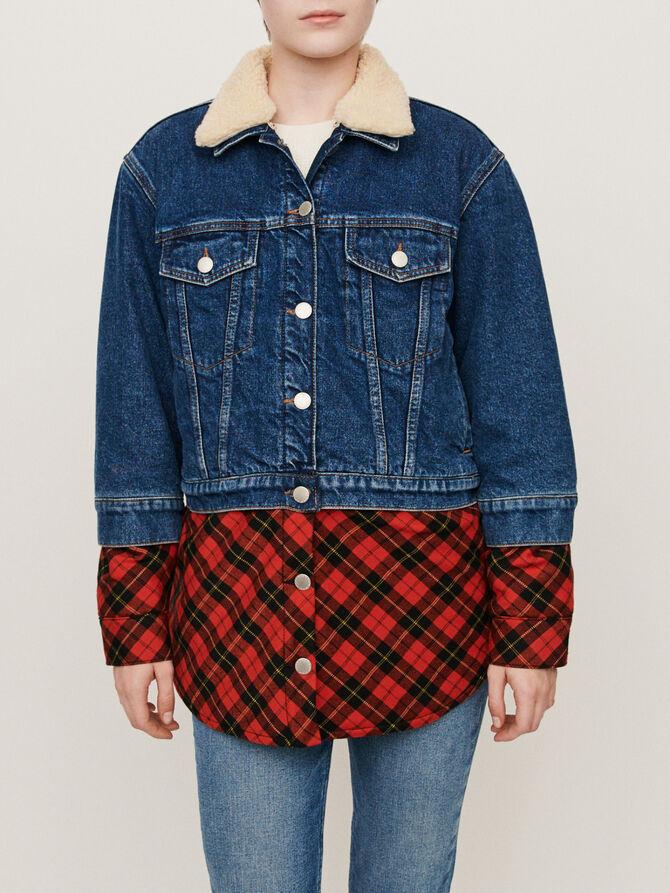 Blouson en jean trompe-l'œil à carreaux - Blousons & Vestes - MAJE