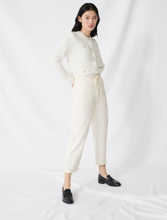 Pantalon en toile taille basse -  - MAJE