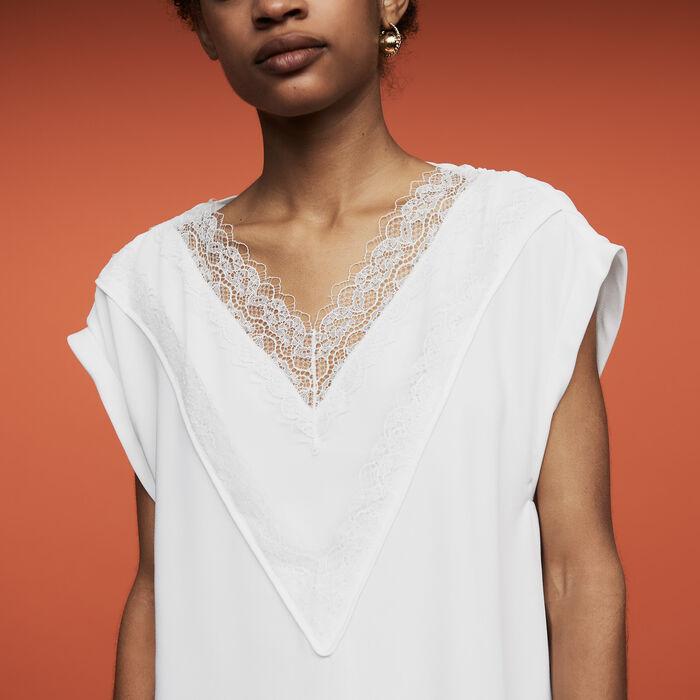 Top oversize avec dentelle : Tops couleur Blanc
