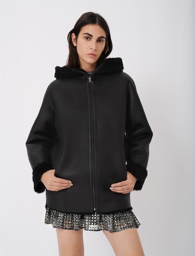 Manteau en peau lainée réversible - Warm up - MAJE