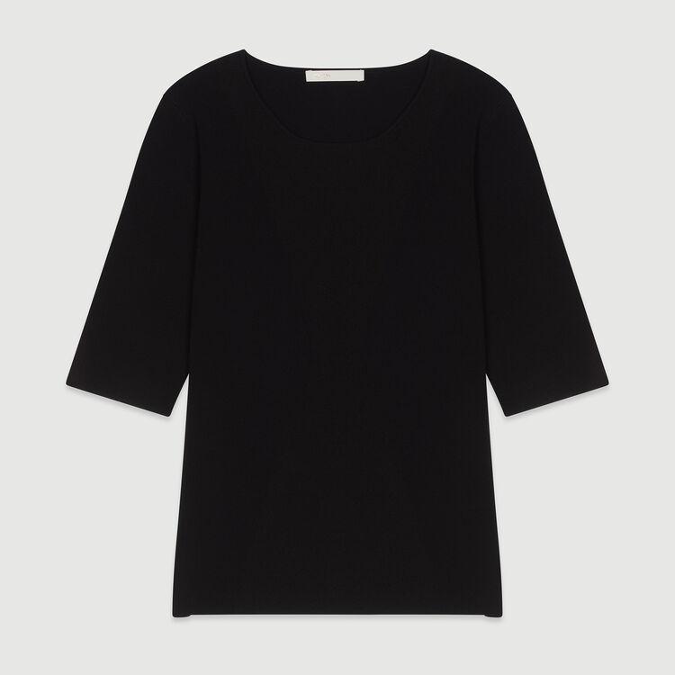 Pull à manches courtes en maille : Pulls & Cardigans couleur BLACK