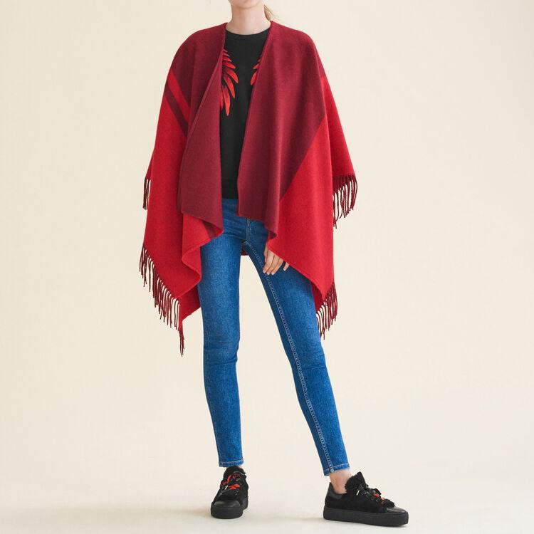 Poncho à franges bicolore : Accessoires couleur BORDEAUX