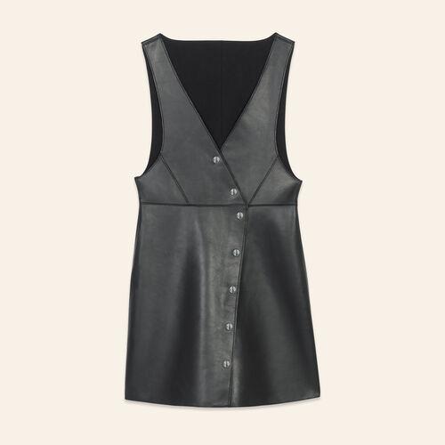 Robe sans manches en cuir : Robes couleur BLACK