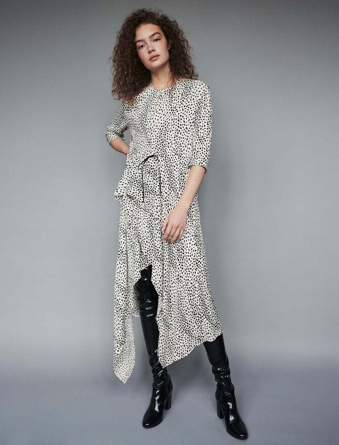 Robe asymétrique en jacquard imprimé - Robes - MAJE
