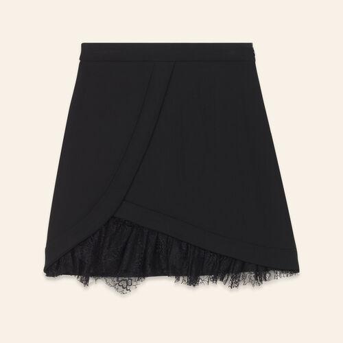 Jupe asymétrique avec détails dentelle - Jupes & Shorts - MAJE