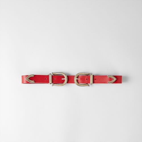Ceinture taille haute à double boucle : Ceintures couleur Rouge