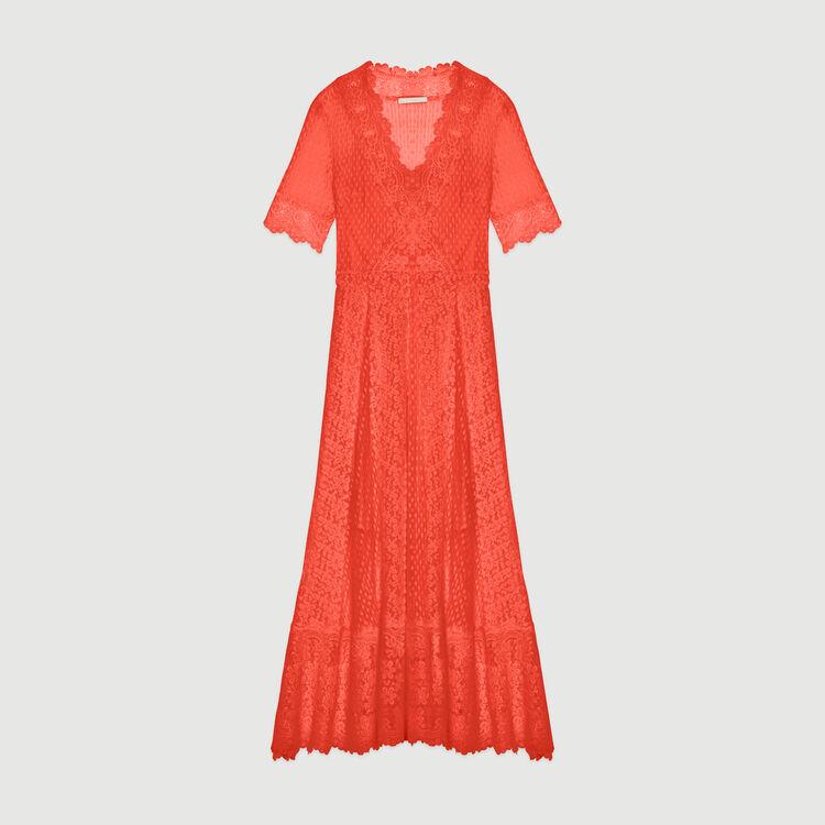 Robe longue en plumetis et dentelle : Robes couleur Corail