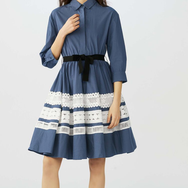 Robe-chemise bicolore avec broderies : Robes couleur Marine