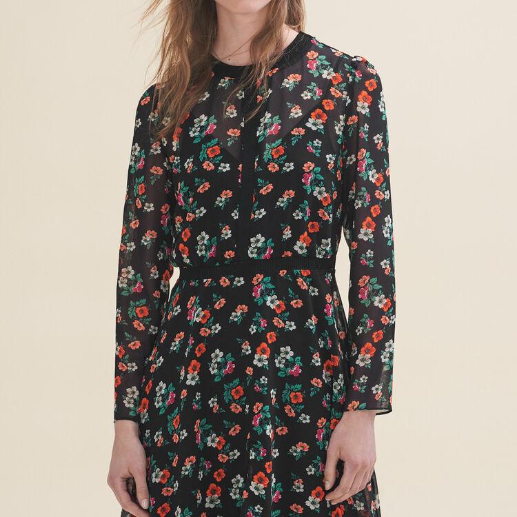 Robe imprimée avec galon côtelé : Robes couleur Imprime