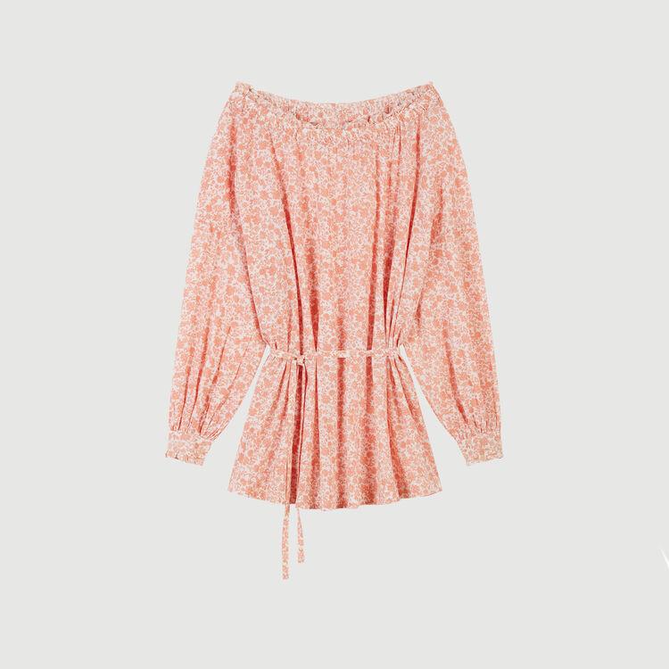 Robe courte florale en voile de coton : Robes couleur Corail