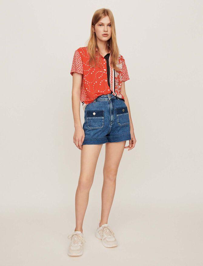 Chemise foulard à manches courtes - Tops & Chemises - MAJE