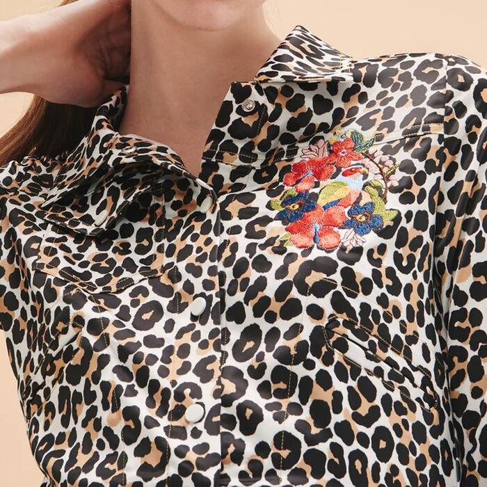 Veste courte imprimée léopard -  - MAJE