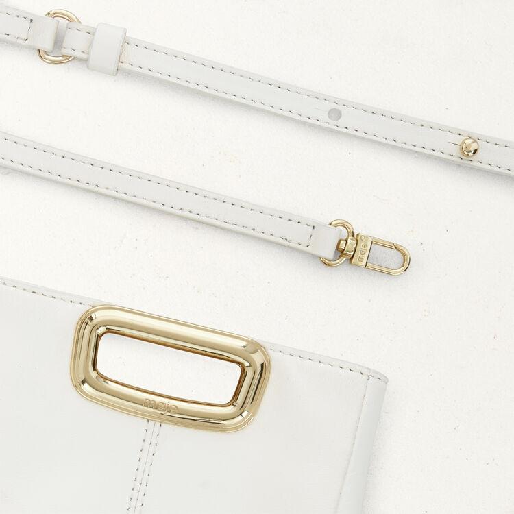 M Mini Skin en cuir et poignée métal : M Mini couleur BLANC