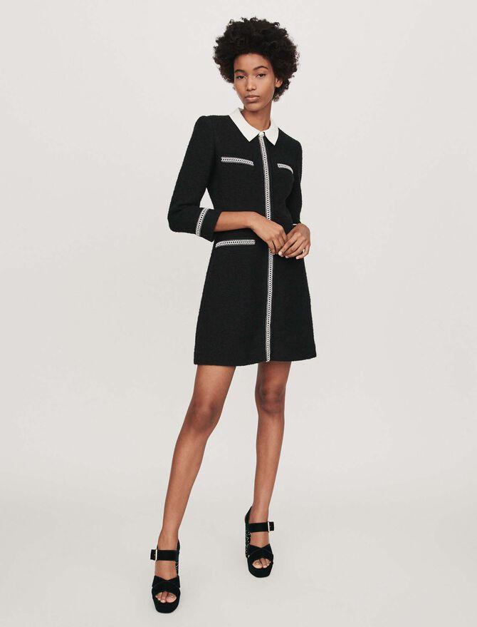 Robe façon tweed contrastée - Robes - MAJE