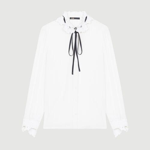 Chemisier avec détails en guipure : Chemises couleur BLANC