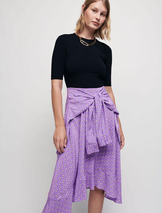 마쥬 원피스 MAJE Robe trompe-loeil A imprime noeuds,Noeuds Violets