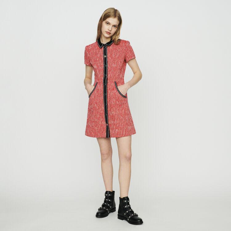 Robe façon tweed avec détails contrastés : Robes couleur Rouge