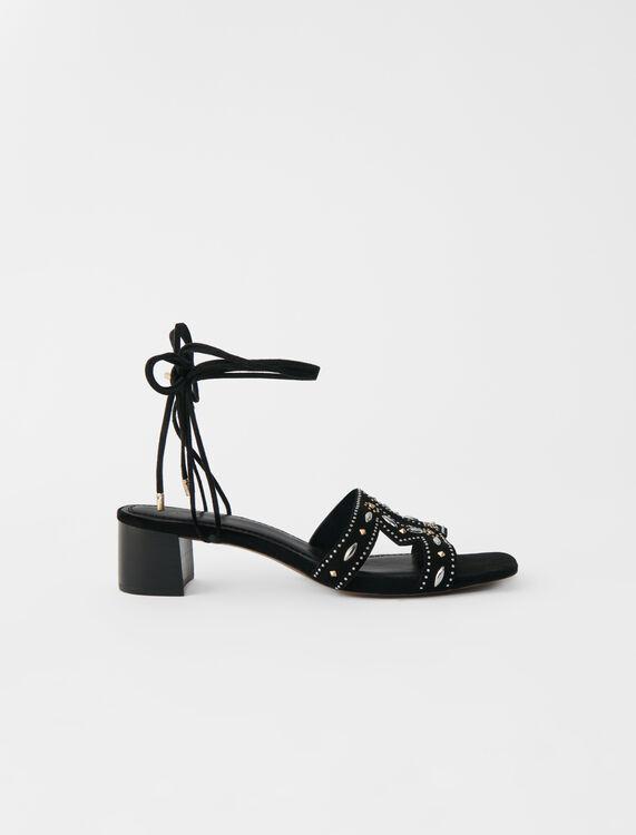 Sandales petit talon à nouer avec studs - Escarpins - MAJE