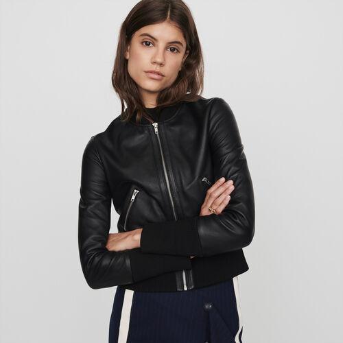 Blouson en cuir à grands bords-côtes : Manteaux & Blousons couleur Noir