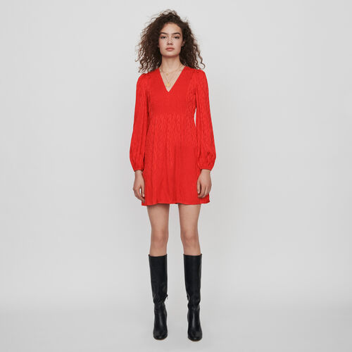 Robe smockée en jacquard satiné : Robes couleur Rouge