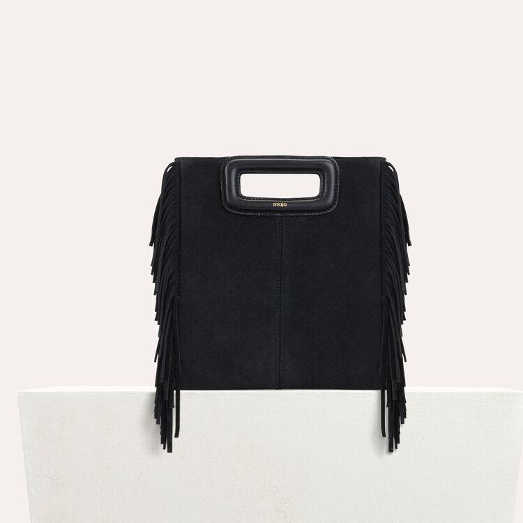 Sac M à franges en cuir de suède : Nouvelle Collection couleur Black