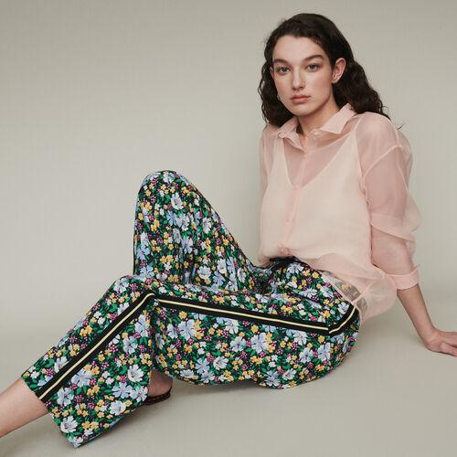 Pantalon jogging à imprimé floral : Pantalons couleur Imprime
