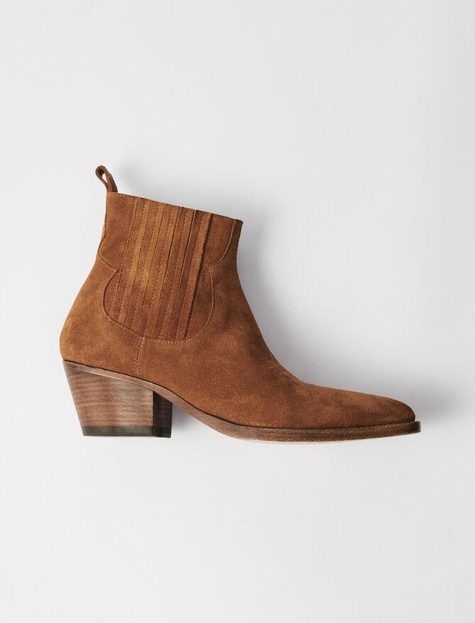 Bottines en suède à découpes western - Toutes les chaussures - MAJE