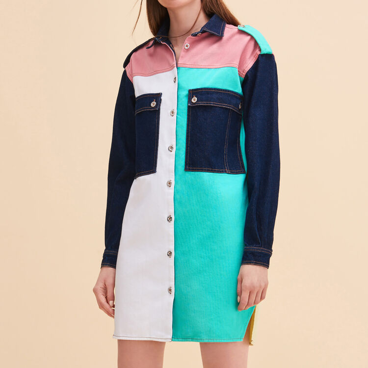 Robe chemise en denim multicolore - Robes - MAJE